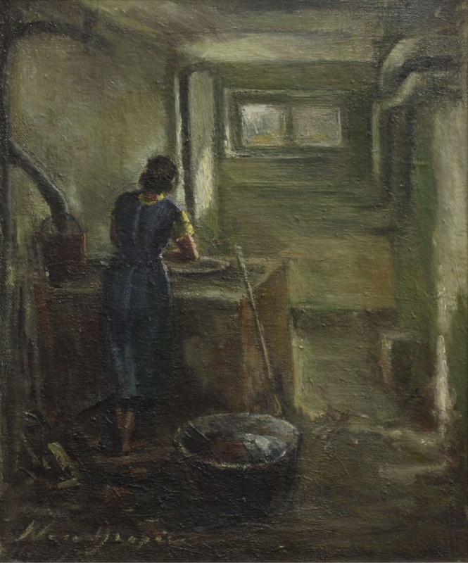 2015.451.51 front Oil painting of a washerwoman