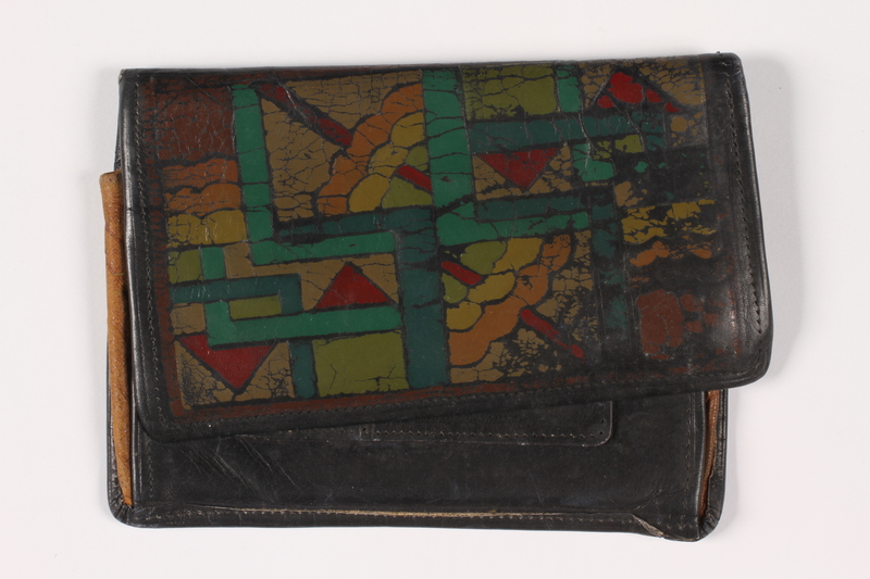 2013.285.2 front Painted leather wallet used prewar by a Polish Jewish refugee