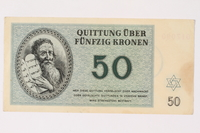 2002.436.45 front Theresienstadt ghetto-labor camp scrip, 50 kronen note  Click to enlarge
