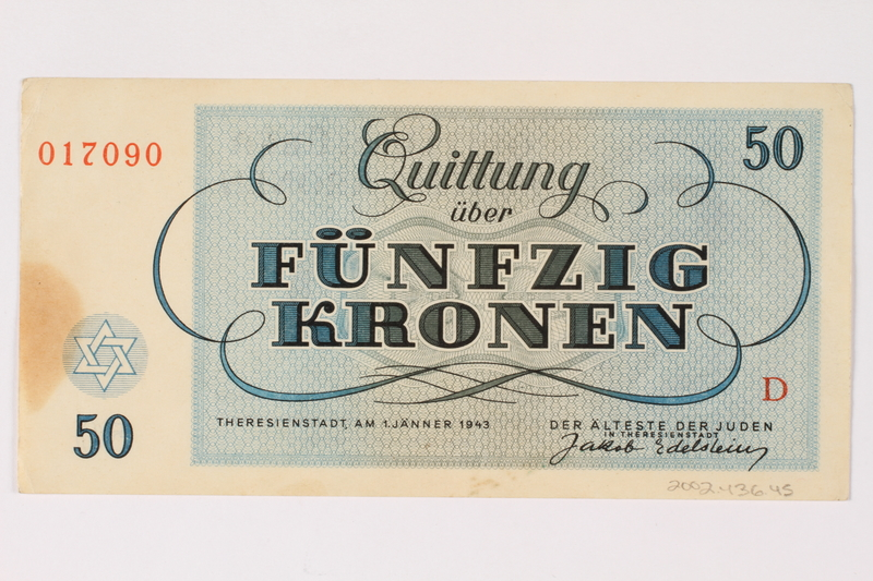 2002.436.45 back Theresienstadt ghetto-labor camp scrip, 50 kronen note