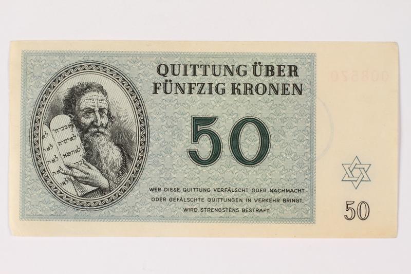 2002.436.46 front Theresienstadt ghetto-labor camp scrip, 50 kronen note