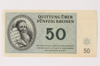 2002.436.46 front Theresienstadt ghetto-labor camp scrip, 50 kronen note  Click to enlarge