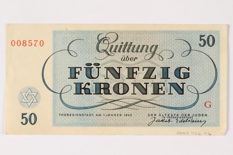 2002.436.46 back Theresienstadt ghetto-labor camp scrip, 50 kronen note