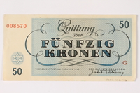 2002.436.46 back Theresienstadt ghetto-labor camp scrip, 50 kronen note  Click to enlarge
