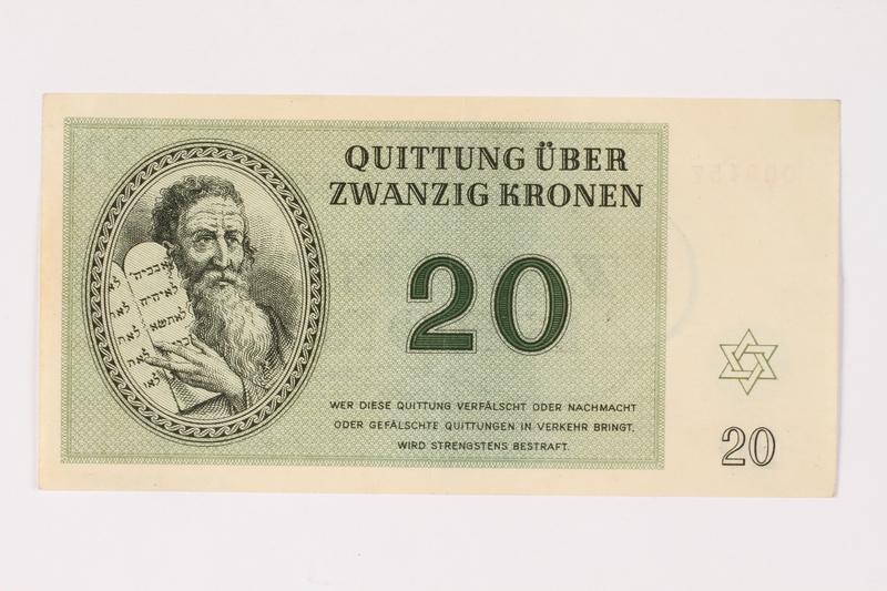 2002.436.47 front Theresienstadt ghetto-labor camp scrip, 20 kronen note
