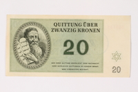 2002.436.47 front Theresienstadt ghetto-labor camp scrip, 20 kronen note  Click to enlarge