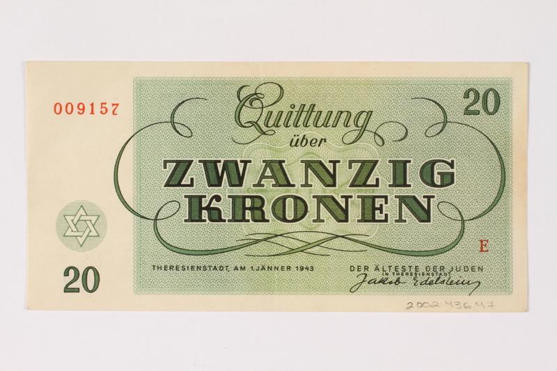 2002.436.47 back Theresienstadt ghetto-labor camp scrip, 20 kronen note