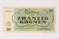 2002.436.47 back Theresienstadt ghetto-labor camp scrip, 20 kronen note  Click to enlarge