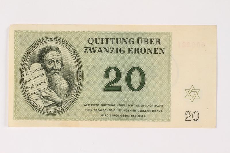 2002.436.48 front Theresienstadt ghetto-labor camp scrip, 20 kronen note