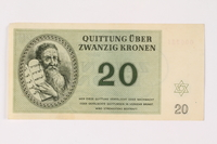 2002.436.48 front Theresienstadt ghetto-labor camp scrip, 20 kronen note  Click to enlarge
