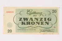 2002.436.48 back Theresienstadt ghetto-labor camp scrip, 20 kronen note  Click to enlarge