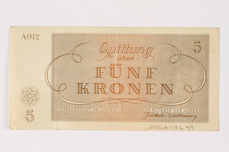 2002.436.49 back Theresienstadt ghetto-labor camp scrip, 5 kronen note