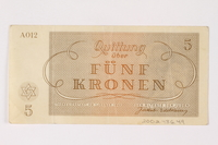 2002.436.49 back Theresienstadt ghetto-labor camp scrip, 5 kronen note  Click to enlarge