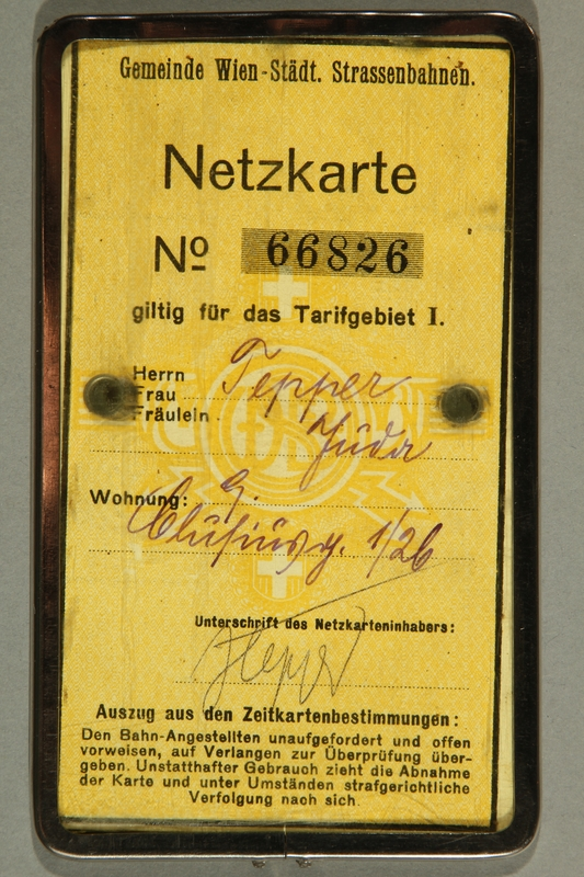 2015.590.2 back Transit pass used prewar by a Jewish refugee