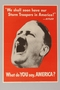 US wartime poster of Hitler promising to bring storm troopers to America