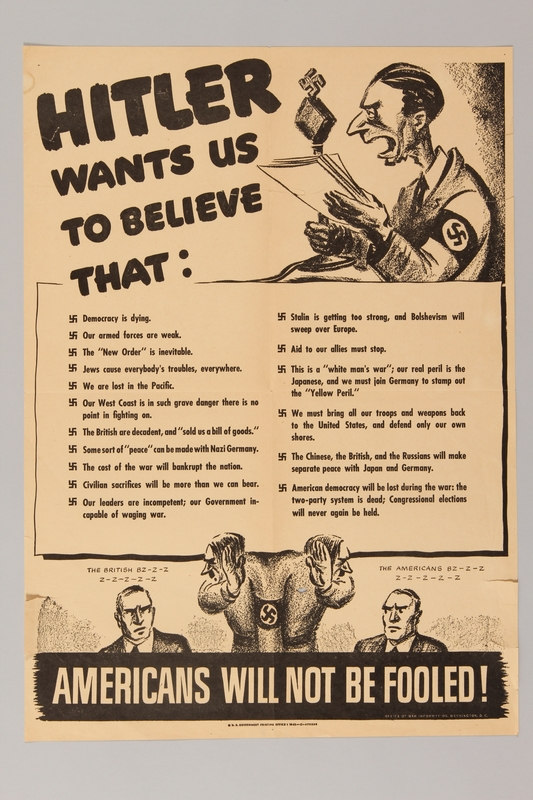 2015.469.4 front American propaganda poster asserting that Americans will not be fooled by Hitler