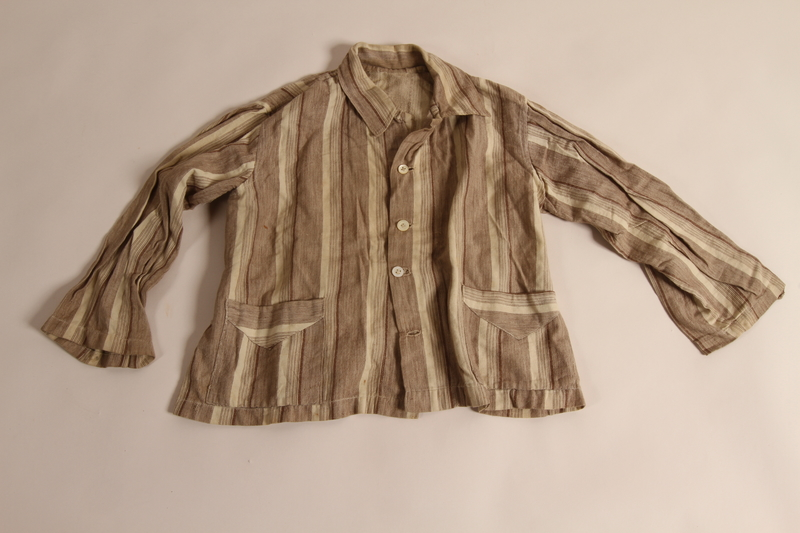 2015.509.2a front Boy's brown striped suit recovered postwar by his parents