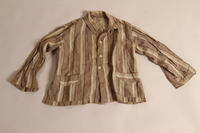 2015.509.2a front Boy's brown striped suit recovered postwar by his parents  Click to enlarge