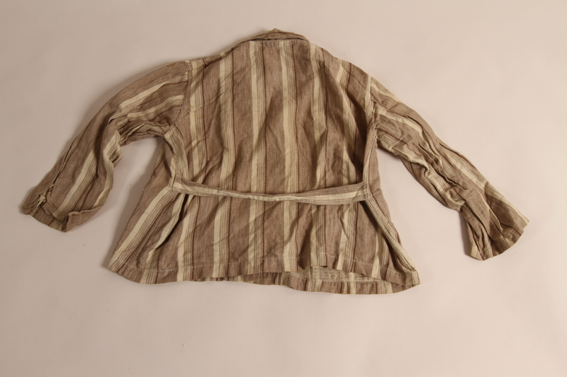 2015.509.2a back Boy's brown striped suit recovered postwar by his parents