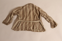 2015.509.2a back Boy's brown striped suit recovered postwar by his parents  Click to enlarge