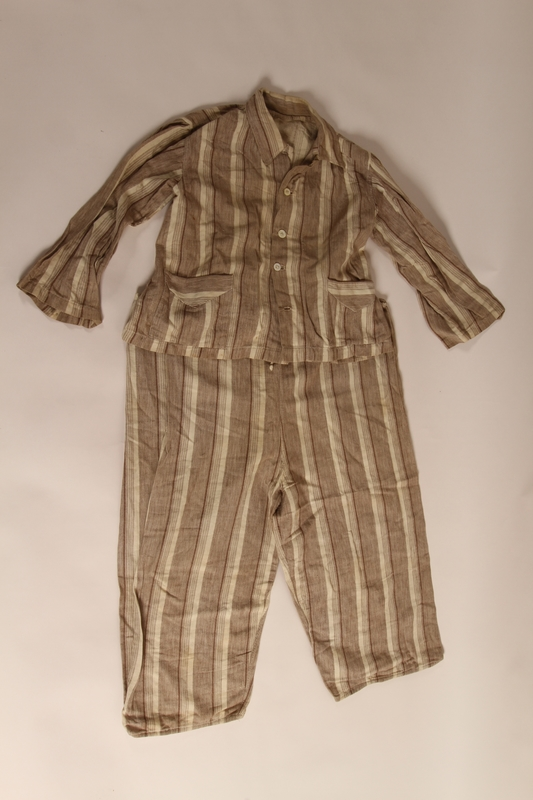 2015.509.2a-b front Boy's brown striped suit recovered postwar by his parents