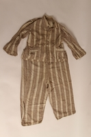 2015.509.2a-b front Boy's brown striped suit recovered postwar by his parents  Click to enlarge