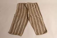 2015.509.2b back Boy's brown striped suit recovered postwar by his parents  Click to enlarge