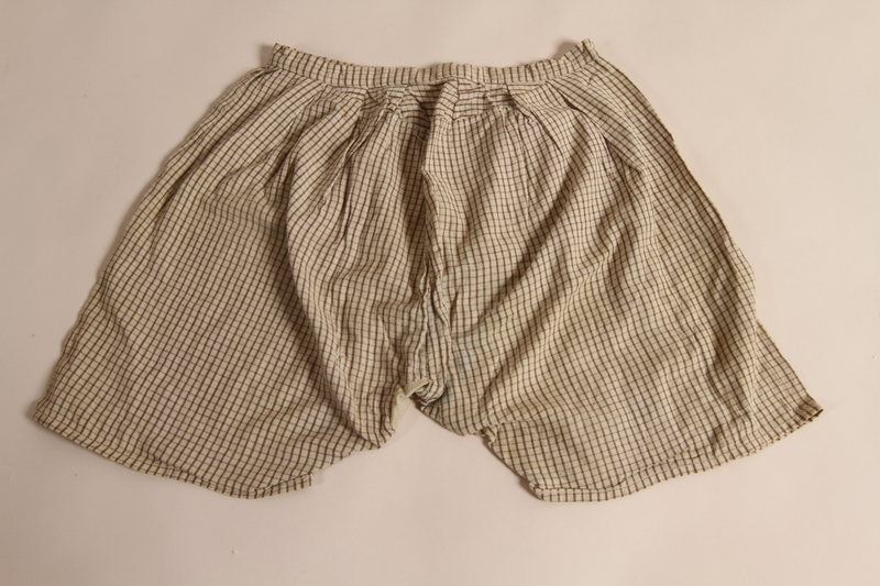 2015.509.3 back Boy's brown checked pants recovered postwar by his parents