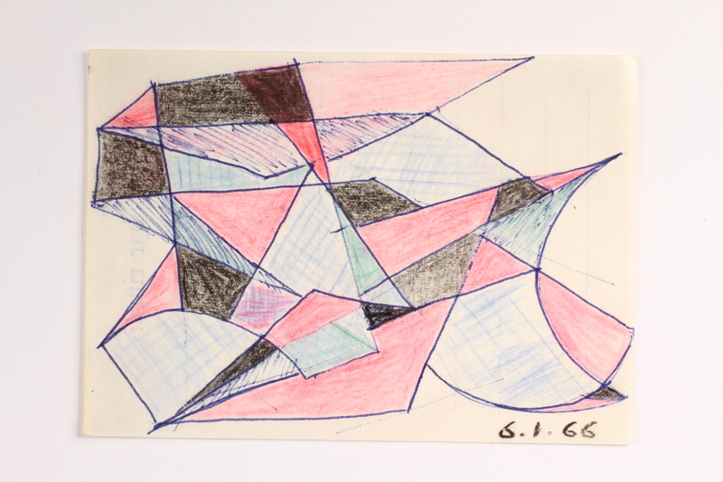 2004.614.20 front Pencil and ink drawing of geometric shapes