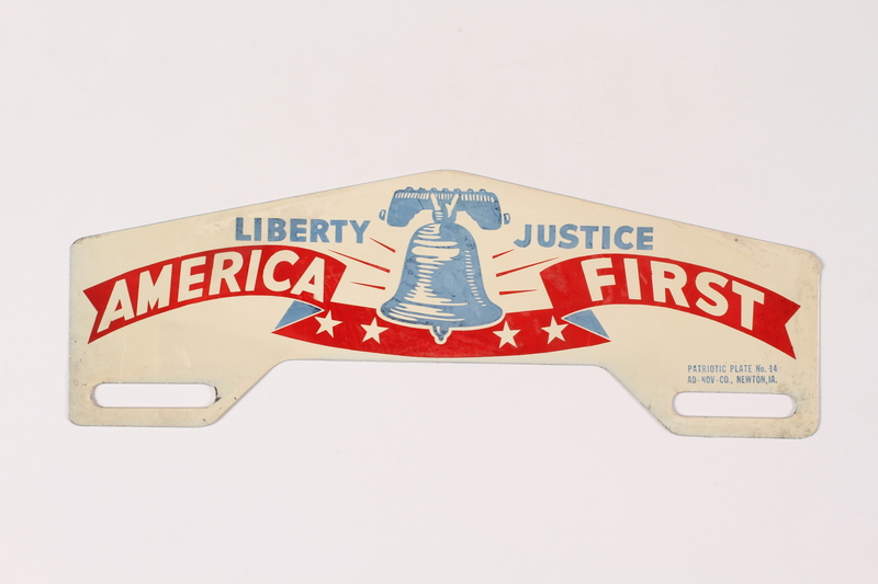 """2015.514.24 front """"America First"""" license plate attachment"""