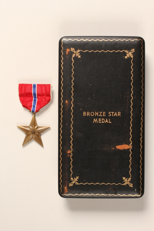 2015.255.2 a-b front Bronze Star medal with box and certificate awarded to a Jewish American soldier