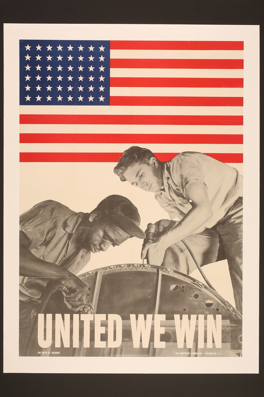 2015.525.2 front US poster promoting victory over racism at home and fascism abroad