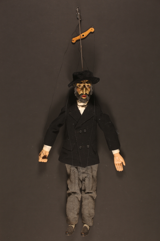 2016.184.1 front Wooden marionette dressed as a Jewish banker