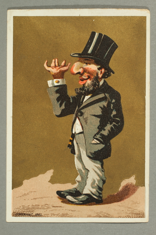 2016.184.6 front Caricature of Jewish man in a top hat with exaggerated facial features