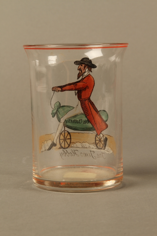 2016.184.8 back Drinking glass with caricature a Jew on his hobby horse, Old Clothes