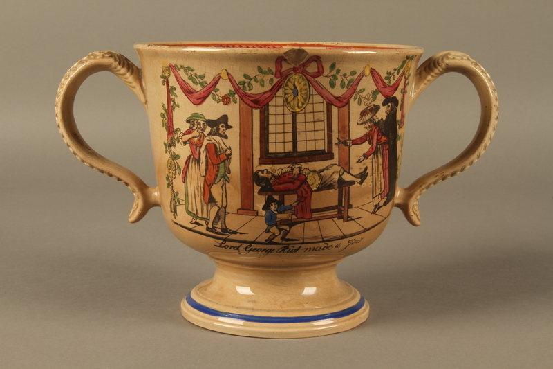 2016.184.12 front Staffordshire loving cup printed with Lord Gordon's circumcision