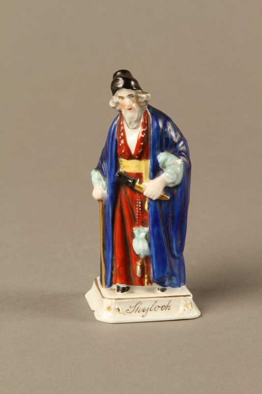 2016.184.13 front Porcelain figure of Shylock, richly dressed and carrying a dagger