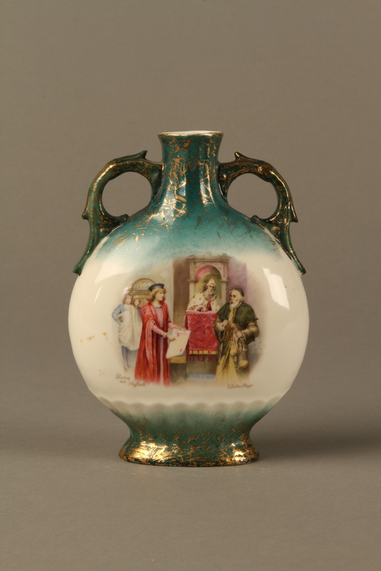 Hand painted vase with a scene of Portia and Shylock in the