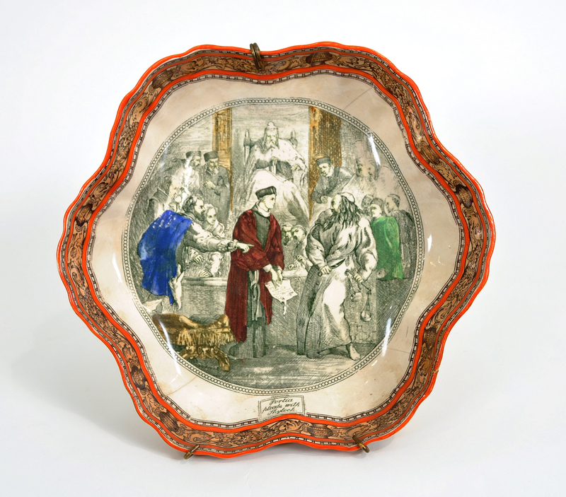 Adams scalloped soup bowl with Portia in court with Shylock