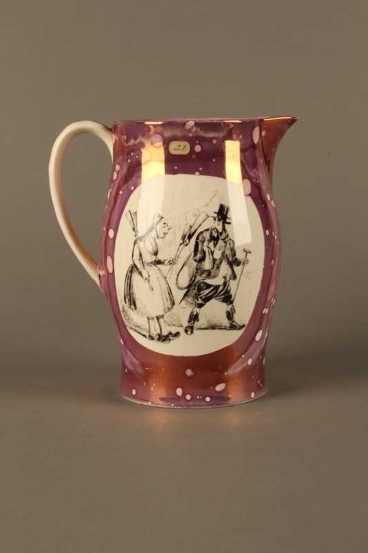 2016.184.23 right side Pearlware pitcher with a Jewish peddler being chased by a housewife