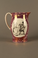 2016.184.23 right side Pearlware pitcher with a Jewish peddler being chased by a housewife  Click to enlarge