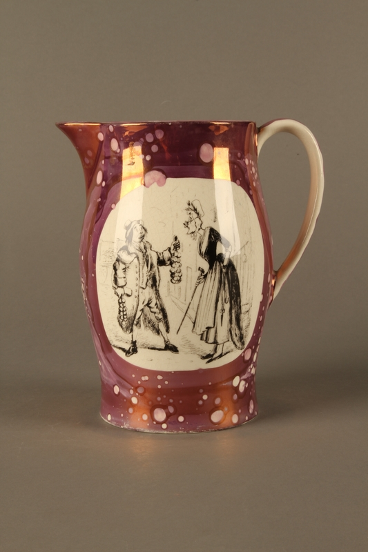 2016.184.23 left side Pearlware pitcher with a Jewish peddler being chased by a housewife