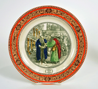 Adams dinner plate with an image of Shylock and Tubal in conversation  Click to enlarge