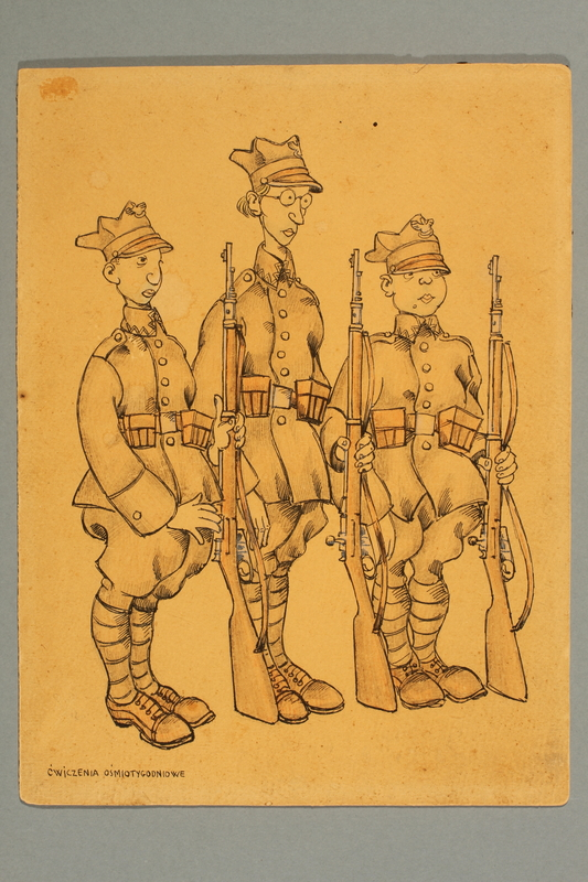 2016.184.26 front Ink caricature of three unlikely Polish Army recruits