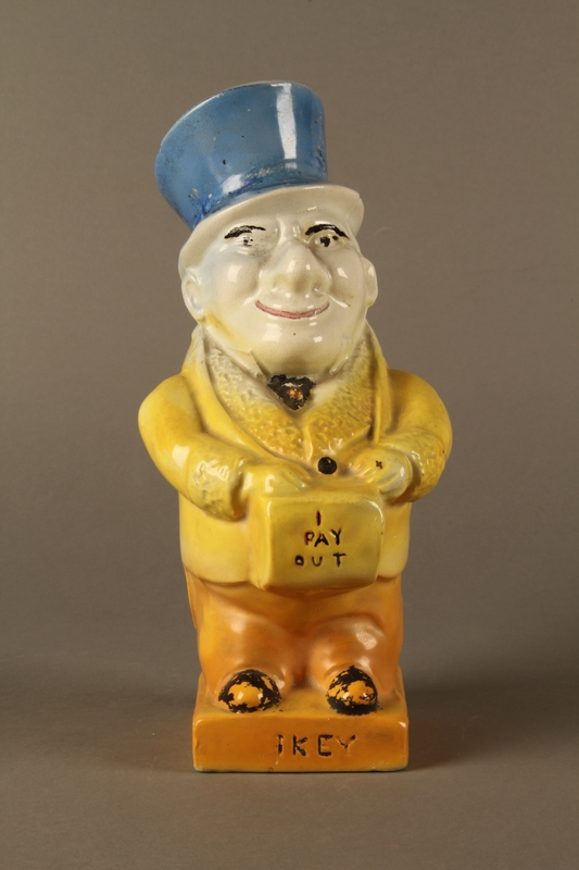 2016.184.40 front Ceramic jug shaped as a comical Jewish man with a collection box