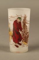 2016.184.76 front Frosted drinking glass with a painted image of Fagin  Click to enlarge