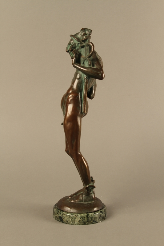 2016.184.96 left side Bronze statue of a Jewish man as the pagan god Mercury