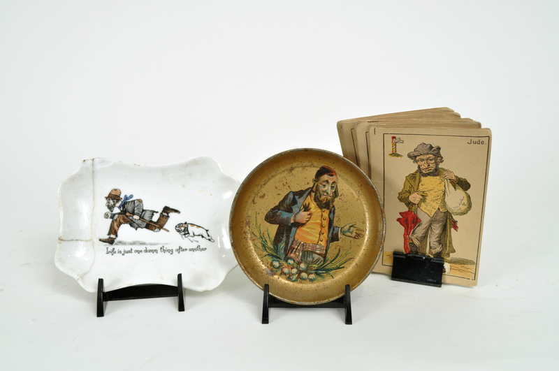 Porcelain dish with a scene of a Jewish beggar being chased by a dog