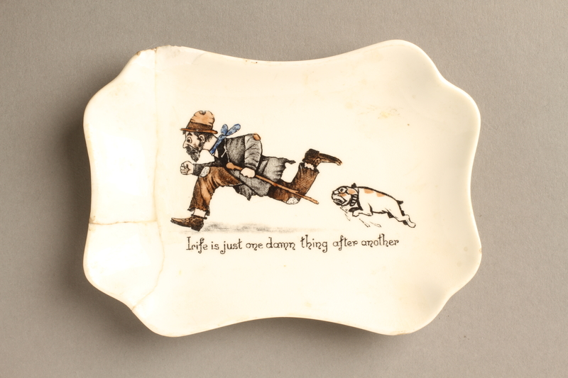 2016.184.130 front Porcelain dish with a scene of a Jewish beggar being chased by a dog