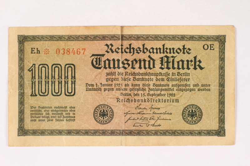 2012.191.2 front Weimar Germany, 1000 mark note